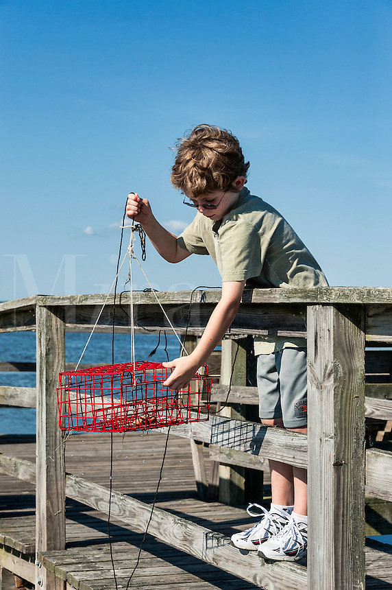 Young boy crabbing from the dock, Outer Banks, North Carolina, USA