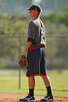 October 1, 2009:  Second Baseman Nick Lockwood of the Minnesota Twins organization works out in the instructional league at Lee County Sports Complex in Fort Myers, FL.  Lockwood was selected in the 9th round of the 2009 MLB Draft out of Jesuit High School in Tampa, FL.  Photo by:  David Stoner/Four Seam Images