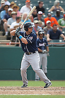 New Hampshire Fisher Cats third baseman Mark Sobolewski #14 bats during a game against the Bowie Baysox at Prince George's Stadium on June 17, 2012 in Bowie, Maryland. New Hampshire defeated Bowie 4-3 in 13 innings. (Brace Hemmelgarn/Four Seam Images)