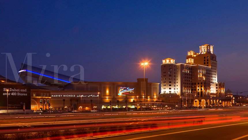 Mall of the Emirates and Dubai indoor ski slope seen across a busy highway. Dubai. United Arab Emirates.