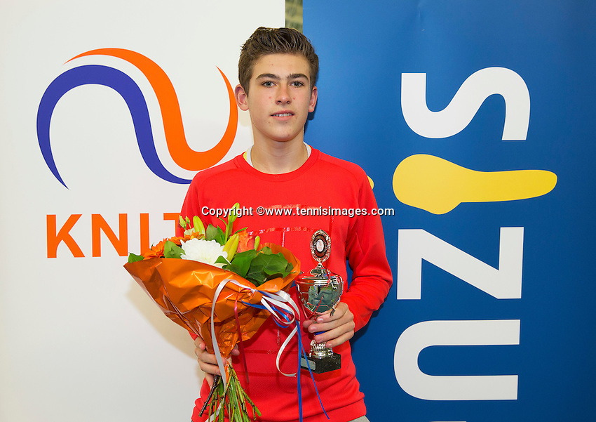 Rotterdam, The Netherlands, March 20, 2016,  TV Victoria, NOJK 14/18 years, Runner up boys 14 years:  Thijmen Loof (NED)<br /> Photo: Tennisimages/Henk Koster