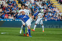 LEICESTER, ENGLAND - APRIL 18: Esteban Cambiasso of Leicester City  stretches for the ball during the Premier League match between Leicester City and Swansea City at The King Power Stadium on April 18, 2015 in Leicester, England.  (Photo by Athena Pictures/Getty Images)