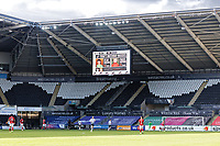 The children mascots on the giant screen during the Sky Bet Championship match between Swansea City and Bristol City at the Liberty Stadium, Swansea, Wales, UK. Saturday 27 February 2021