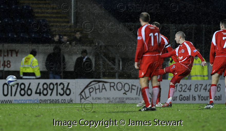 10/01/2009  Copyright Pic: James Stewart.File Name : sct_jspa31_falkirk_v_qots.ROBERT HARRIS SCORES QUEEN OF THE SOUTH'S SECOND.James Stewart Photo Agency 19 Carronlea Drive, Falkirk. FK2 8DN      Vat Reg No. 607 6932 25.Studio      : +44 (0)1324 611191 .Mobile      : +44 (0)7721 416997.E-mail  :  jim@jspa.co.uk.If you require further information then contact Jim Stewart on any of the numbers above.........