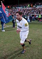 Photo: Richard Lane/Richard Lane Photography. Tigers v Wasps. Aviva Premiership. 25/03/2018. Wasps' Danny Cipriani runs out for his 100th Premiership game for the club.