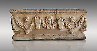 Roman relief sculpted garland sarcophagus, 3rd century AD. Adana Archaeology Museum, Turkey. Against a grey background