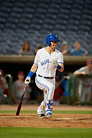 Dunedin Blue Jays designated hitter Christian Williams (10) hits a single during a Florida State League game against the Clearwater Threshers on April 4, 2019 at Spectrum Field in Clearwater, Florida.  Dunedin defeated Clearwater 11-1.  (Mike Janes/Four Seam Images)
