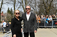 Michel Cote and wife<br /> attend Jeanine Sutto funerals, April 10, 2017.<br /> <br /> PHOTO  :  Agence Quebec Presse