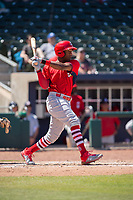Springfield Cardinals outfielder Justin Williams (25) connects on a pitch on May 19, 2019, at Arvest Ballpark in Springdale, Arkansas. (Jason Ivester/Four Seam Images)