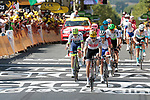 Bauke Mollema (NED) Trek-Segafredo leads the 3rd group losing time including GC contenders team mate Richie Porte (AUS) Rigoberto Uran (COL) EF Education First and Thibaut Pinot (FRA) Groupama-FDJ to the finish line of Stage 10 of the 2019 Tour de France running 217.5km from Saint-Flour to Albi, France. 15th July 2019.<br /> Picture: Colin Flockton | Cyclefile<br /> All photos usage must carry mandatory copyright credit (© Cyclefile | Colin Flockton)