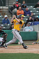 Wichita State Shockers outfielder Garrett Bayliff #28 at bat during a game against the Coastal Carolina Chanticleers at Ticketreturn.com Field at Pelicans Ballpark on February 23, 2014 in Myrtle Beach, South Carolina. Wichita State defeated Coastal Carolina by the score of 5-2. (Robert Gurganus/Four Seam Images)