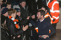 Nathan Jones (Manager) of Luton Town greets supporters on arriving for the FA Cup 3rd round match between Newcastle United and Luton Town at St. James's Park, Newcastle, England on 6 January 2018. Photo by David Horn.