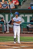 Frankie Jezioro (28) of the Ogden Raptors at bat against the Grand Junction Rockies at Lindquist Field on June 5, 2021 in Ogden, Utah. The Raptors defeated the Rockies 18-1. (Stephen Smith/Four Seam Images)