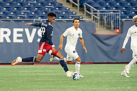 FOXBOROUGH, MA - OCTOBER 09: Orlando Sinclair #99 of New England Revolution II passes the ball during a game between Fort Lauderdale CF and New England Revolution II at Gillette Stadium on October 09, 2020 in Foxborough, Massachusetts.