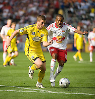Eddie Gaven and Dane Richards battle for the ball during MLS Cup 2008. Columbus Crew defeated the New York Red Bulls, 3-1, Sunday, November 23, 2008. Photo by John Todd/isiphotos.com