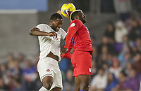 ORLANDO, FL - NOVEMBER 15: Gyasi Zardes #9 of the United States heads a ball during a game between Canada and USMNT at Exploria Stadium on November 15, 2019 in Orlando, Florida.