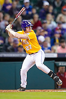 LSU Tigers first baseman Danny Zardon (27) at bat during the Houston College Classic against the Nebraska Cornhuskers on March 8, 2015 at Minute Maid Park in Houston, Texas. LSU defeated Nebraska 4-2. (Andrew Woolley/Four Seam Images)