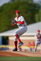 Auburn Doubledays pitcher Niomar Gomez (21) during a NY-Penn League game against the Batavia Muckdogs on June 14, 2019 at Dwyer Stadium in Batavia, New York.  Batavia defeated 2-0.  (Mike Janes/Four Seam Images)