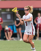 NEWTON, MA - MAY 14: Amy Moreau #3 of University of Massachusetts passes the ball during NCAA Division I Women's Lacrosse Tournament first round game between University of Massachusetts and Temple University at Newton Campus Lacrosse Field on May 14, 2021 in Newton, Massachusetts.