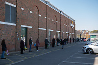 Shoppers queuing outside Morrisons in Sidcup, Kent during the Coronavirus (COVID-19) outbreak where travel has been restricted across the country at Sidcup, England on 25 March 2020. Photo by Alan Stanford/PRiME Media Images