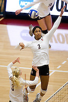 STANFORD, CA - DECEMBER 5:  Janet Okogbaa of the Stanford Cardinal during Stanford's 3-0 win over Albany in the NCAA Division 1 Women's Volleyball first round on December 5, 2008 at Maples Pavilion in Stanford, California.