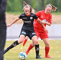 Ella Vierendeels (4) of Zulte-Waregem and Martyna Rakowicz (38) of Woluwe  pictured during a female soccer game between FC Femina White Star Woluwe and SV Zulte Waregem on the fifth matchday of play off 2 in the 2020 - 2021 season of Belgian Scooore Womens Super League , Saturday 8 th of May 2021  in Woluwe , Belgium . PHOTO SPORTPIX.BE | SPP | DAVID CATRY