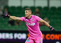 24th March 2021; HBF Park, Perth, Western Australia, Australia; A League Football, Perth Glory versus Sydney FC; Liam Reddy of Peth Glory gives instructions to his defence