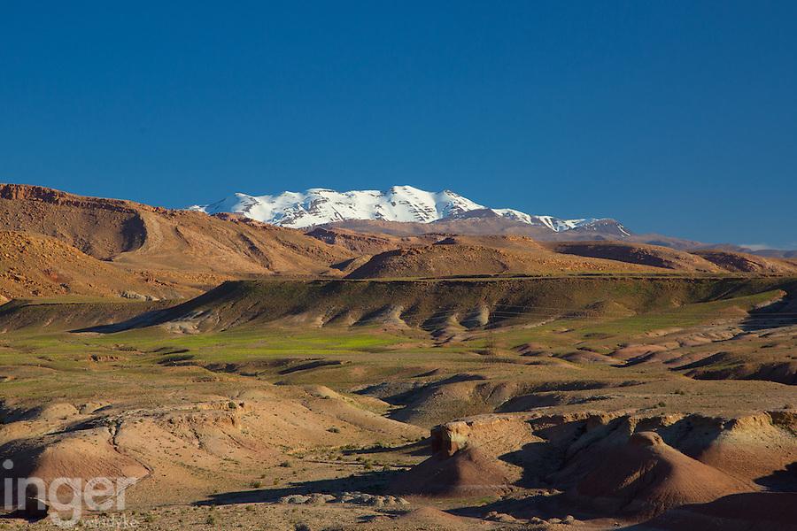 Snow capped Atlas Mountains near Ouazazarte, Morocco