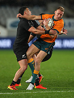 NZ's David Havili scrags Reece Hodge during the Bledisloe Cup rugby match between the New Zealand All Blacks and Australia Wallabies at Eden Park in Auckland, New Zealand on Saturday, 14 August 2021. Photo: Simon Watts / lintottphoto.co.nz / bwmedia.co.nz