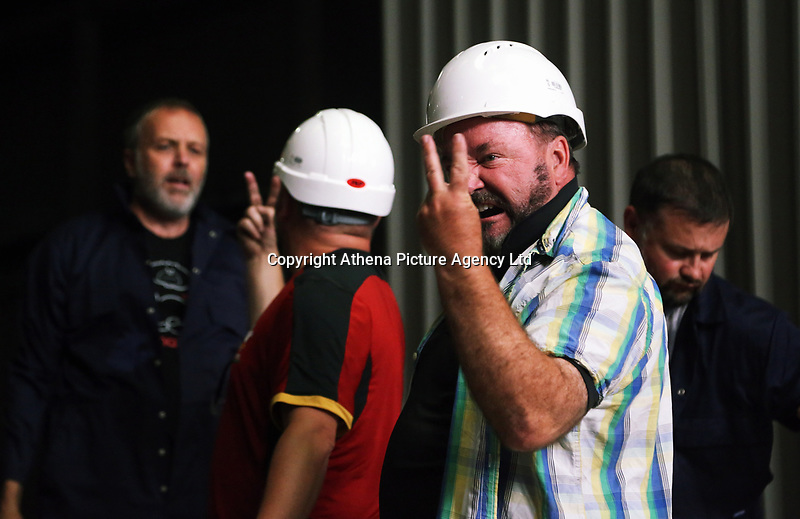 """""""We Are Still Here"""" rehearsal by the National Theatre Wales, in Port Talbot, Wales, UK. Wednesday 23 August 2017"""