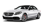 Stock pictures of low aggressive front three quarter view of 2018 Mercedes Benz C-Class AMG-C63-S 4 Door Sedan Low Aggressive