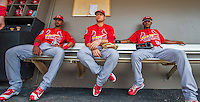 13 March 2016: St. Louis Cardinals infielders Eliezer Alvarez (left) and Aledmys Diaz (center) along with outfielder Magneuris Sierra (right) sit in the dugout prior to the start of a pre-season Spring Training game against the Washington Nationals at Space Coast Stadium in Viera, Florida. The teams played to a 4-4 draw in Grapefruit League play. Mandatory Credit: Ed Wolfstein Photo *** RAW (NEF) Image File Available ***