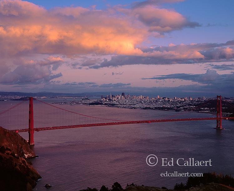 Dusk, Golden Gate Bridge, San Francisco CA