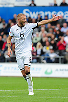 Mike van der Hoorn of Swansea City during the Sky Bet Championship match between Swansea City and Reading at the Liberty Stadium, Swansea, Wales, UK. Saturday 28 September 2019