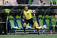 SEATTLE, WA - NOVEMBER 10: Assistant Referee Brian Dunn watches the ball during a game between Toronto FC and Seattle Sounders FC at CenturyLink Field on November 10, 2019 in Seattle, Washington.