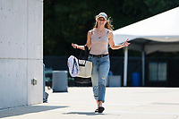CARY, NC - SEPTEMBER 12: Sam Murphy #42 of the NC Courage arrives at Sahlen's Stadium before a game between Portland Thorns FC and North Carolina Courage at WakeMed Soccer Park on September 12, 2021 in Cary, North Carolina.