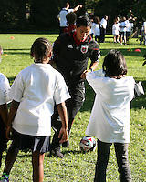 """Andy Najar during a  D.C United clinic in support of first lady Michelle Obama's """"Let's Move"""" initiative on the White House lawn, in Washington D.C. on October 7 2010."""