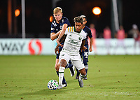 LAKE BUENA VISTA, FL - AUGUST 01: Andy Polo #7 of the Portland Timbers tries to escape the pressure by Keaton Parks #55 of New York City FC during a game between Portland Timbers and New York City FC at ESPN Wide World of Sports on August 01, 2020 in Lake Buena Vista, Florida.