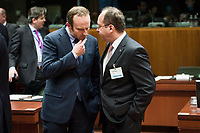 Denmark's Foreign Affairs Minister Martin Lidegaard (L) and Romanian Foreign Minister Bogdan Aurescu prior to the European Union Foreign Ministers Council at EU headquarters  in Brussels, Belgium on 29.01.2015 Federica Mogherini , EU High representative for foreign policy called extraordinary meeting on the situation in Ukraine after the attack on Marioupol.  by Wiktor Dabkowski