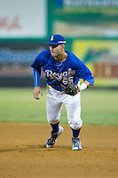Burlington Royals first baseman Brandon Thomasson (66) on defense against the Greeneville Astros at Burlington Athletic Park on August 29, 2015 in Burlington, North Carolina.  The Royals defeated the Astros 3-1. (Brian Westerholt/Four Seam Images)
