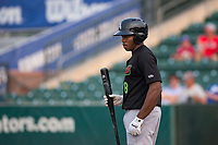 Great Falls Voyagers third baseman Bryce Bush (8) during a Pioneer League against the Ogden Raptors at Lindquist Field on August 23, 2018 in Ogden, Utah. The Ogden Raptors defeated the Great Falls Voyagers by a score of 8-7. (Zachary Lucy/Four Seam Images)