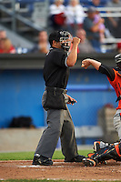 Umpire Jhonatan Biarreta during a game between the Aberdeen IronBirds and Batavia Muckdogs on July 15, 2016 at Dwyer Stadium in Batavia, New York.  Aberdeen defeated Batavia 4-2.  (Mike Janes/Four Seam Images)