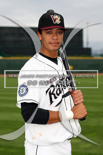 June 17th 2008:  Juan Diaz of the Wisconsin Timber Rattlers, Class-A affiliate of the Seattle Mariners, during the Midwest League All-Star Game at Dow Diamond in Midland, MI.  Photo by:  Mike Janes/Four Seam Images