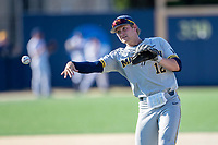Michigan Wolverines second baseman Riley Bertram (12) warms up before the NCAA baseball tournament against the Connecticut Huskies on June 4, 2021 at Frank Eck Stadium in Notre Dame, Indiana. The Huskies defeated the Wolverines 6-1. (Andrew Woolley/Four Seam Images)