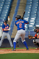 Jordan Anderson (2) of James Clemens High School in Madison, Alabama playing for the New York Mets scout team during the East Coast Pro Showcase on July 28, 2015 at George M. Steinbrenner Field in Tampa, Florida.  (Mike Janes/Four Seam Images)