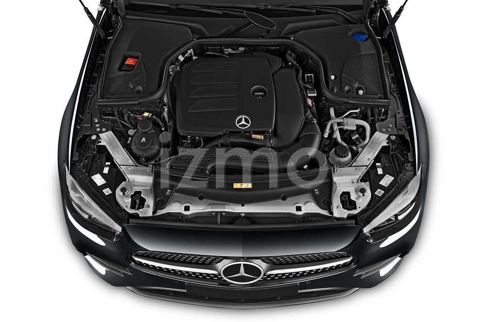 Car Stock 2021 Mercedes Benz E-Class AMG-Line 4 Door Convertible Engine  high angle detail view