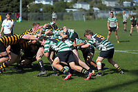 Action from the Wellington Under-85kg club rugby match between Wellington Axemen and Old Boys University Scallywags at Hataitai Park in Wellington, New Zealand on Saturday, 29 August 2020. Photo: Dave Lintott / lintottphoto.co.nz