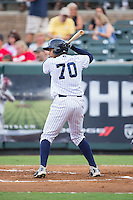 Dermis Garcia (70) of the Pulaski Yankees at bat against the Elizabethton Twins at Calfee Park on July 25, 2016 in Pulaski, Virginia.  The Twins defeated the Yankees 6-1.  (Brian Westerholt/Four Seam Images)