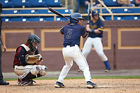 Alex Reyna (5) of the North Carolina A&T Aggies at bat against the North Carolina Central Eagles at Durham Athletic Park on April 10, 2021 in Durham, North Carolina. (Brian Westerholt/Four Seam Images)
