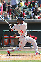 Greenville Drive outfielder Manuel Margot #2 at bat during a game against the Charleston RiverDogs at Joseph P. Riley Jr. Ballpark  on April 9, 2014 in Charleston, South Carolina. Greenville defeated Charleston 6-3. (Robert Gurganus/Four Seam Images)